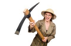 Stock Photo of Woman wearing safari hat on white