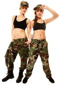 Two women in military clothes army girls isolated Kuvituskuvat
