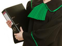Woman lawyer with file folder or dossier Stock Photos