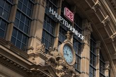 Hauptbahnhof main train station buiding in Frankfurt - stock photo