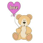 Stock Illustration of Teddy Bear is sitting with  balloon