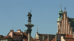 View of Sigismund's Column and other towers in the Old Town of Warsaw - stock footage