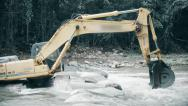 Stock Video Footage of Excavator is trapped in River