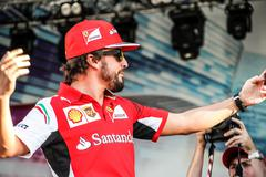 Selfie Fernando Alonso at the autograph session. Stock Photos