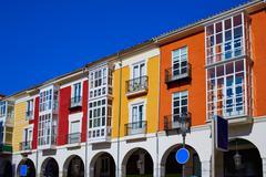 Burgos Street Santander arcades in Castilla Leon of Spain - stock photo