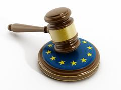 European Union flag on gavel - stock illustration