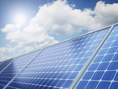 Solar panel on the desert - stock illustration