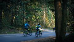 Cyclists Pass Car On Forest Road Stock Footage