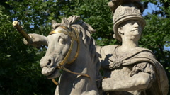 View of the polish king Jan III Sobieski monument in Lazienki Park, Warsaw Stock Footage