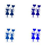 assembly realistic sticker design on paper girlfriend balloons - stock illustration