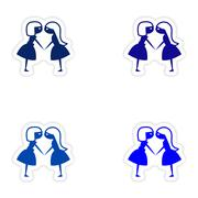 Assembly realistic sticker design on paper girlfriends Stock Illustration
