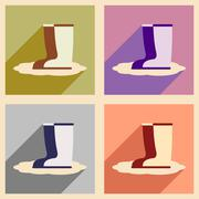 Flat with shadow concept and mobile application rubber boots - stock illustration