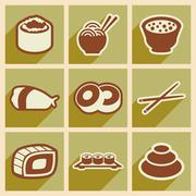 Stock Illustration of Flat with shadow concept Japanese food on stylish backgrounds
