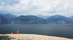 Seaside at Lago Di Garda, during my way to Italy Sirmione Stock Footage