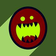Flat with shadow Icon toothy monster bright background Stock Illustration