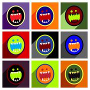 Flat with shadow concept Icon toothy monster bright background - stock illustration