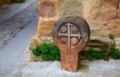 The way of Saint james sign in Pamplona Spain - stock photo