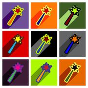 Flat with shadow concept magic wand on a colored background Stock Illustration