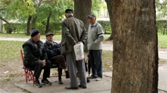 Group of elderly people talking in park, old age,pensioners,tree trunk close up. - stock footage