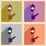 Modern collection flat icons with shadow money to burn Stock Illustration