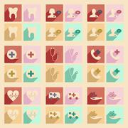 Flat with shadow concept and mobile application health care Stock Illustration
