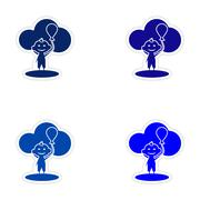 Assembly realistic sticker design on paper child balloon Stock Illustration