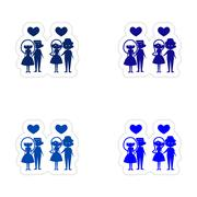 Assembly realistic sticker design on paper couples love Stock Illustration