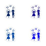 Assembly realistic sticker design on paper couple dancing Stock Illustration