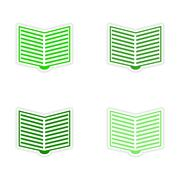 Assembly realistic sticker design on paper open book Stock Illustration