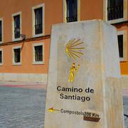 Way of Saint James stone sign in Leon 306 km - stock photo