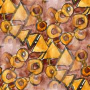 Stock Illustration of seamless watercolor brown yellow triangle ornament background for your website