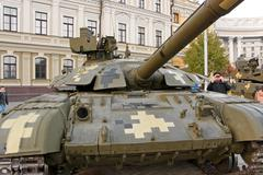 Tank on exhibition of military equipment in Kyiv - stock photo