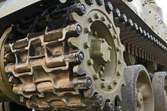 Stock Photo of Tracked military equipment, close-up