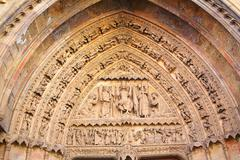 Cathedral of Leon gothic arch in Castilla Spain - stock photo