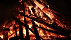 Flames of bonfire Stock Footage