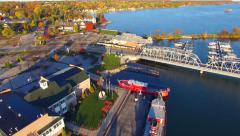 Scenic Aerial View of Sturgeon Bay Wisconsin, Waterfront, Bridge Stock Footage