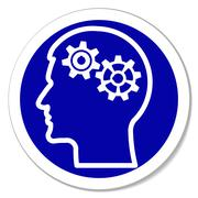 Vector icon - thinking, intelligence, problems, gears in head Stock Illustration