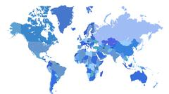 Blue world map Stock Illustration