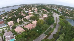 Suburban real estate aerial view Stock Footage