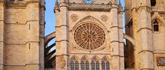 Cathedral of Leon gothic rosette in Castilla - stock photo