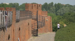 Walking on the old city wall in Warsaw Stock Footage