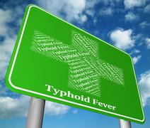 Typhoid Fever Represents Symptomatic Bacterial Infection And Affliction Stock Illustration