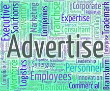 Advertise Word Indicates Advertising Promotion And Ads Stock Illustration