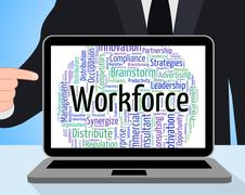 Workforce Word Shows Human Resources And Employees - stock illustration