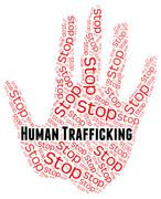 Stop Human Trafficking Indicates Forced Marriage And Crime - stock illustration