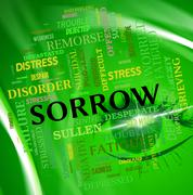 Sorrow Word Shows Grief Stricken And Depressed Stock Illustration