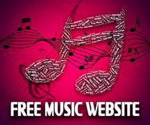 Free Music Website Shows With Our Compliments And Domain Stock Illustration