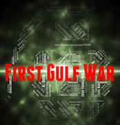 First Gulf War Means Operation Desert Shield And Clash - stock illustration