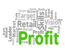 Stock Illustration of Profit Word Shows Growth Earnings And Earning