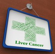 Liver Cancer Shows Poor Health And Affliction - stock illustration